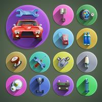 Conjunto de ícones de desenhos animados de reparação de automóveis