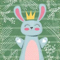 Personagens de coelho. Ilustração de inverno bonito. vetor