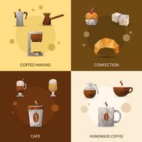 Conjunto de ícones de café e confeitaria