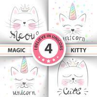 Gato, gatinho, unicórnio, caticórnio, ilustração do bebê. idéia para impressão t-shirt. vetor
