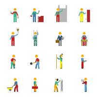 Conjunto de ícones plana de construtores