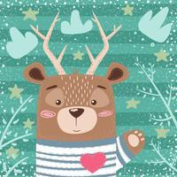 Urso bonito, ilustração dos desenhos animados dos cervos. vetor