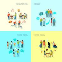 Conjunto de ícones de amizade vetor