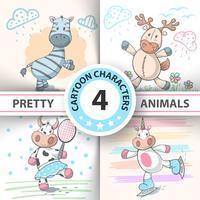 Conjunto de animais dos desenhos animados vaca, veado, touro, zebra, unic vetor