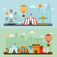 Circo em conjunto de bandeiras plana de cidade vetor