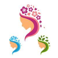 Conjunto de logotipo de beleza