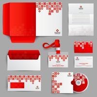 Identidade Corporativa Vermelha vetor