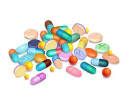 Composição realística médica dos comprimidos vetor
