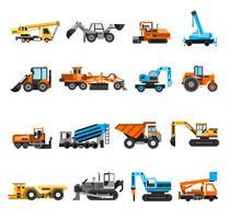 Conjunto de ícones de máquinas de construção vetor