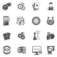 Jogos de azar de cassino conjunto de ícones pretos