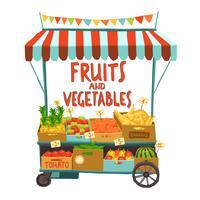 Carrinho de rua com frutas vetor
