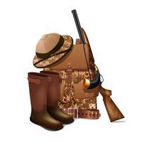 Ícone retrô de equipamento de caça vetor