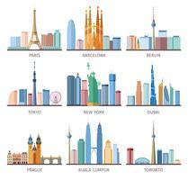 Conjunto de ícones de skylines de cidades vetor