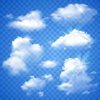 Nuvens transparentes no azul vetor