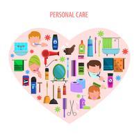 Cartaz de emblema de coração de cuidados pessoais vetor