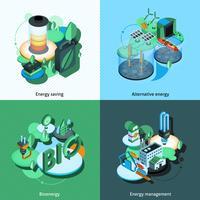 Energia Verde Isométrica vetor