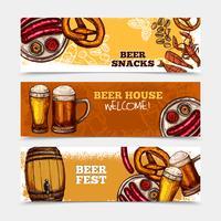 Conjunto de Banner de cerveja vetor