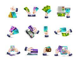 Conjunto de ícones de pagamento de cartão de crédito de mãos