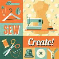 Cartaz de colagem de decoração vintage de costura vetor