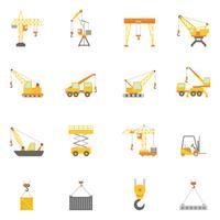 Conjunto de ícones plana de guindaste de construção civil