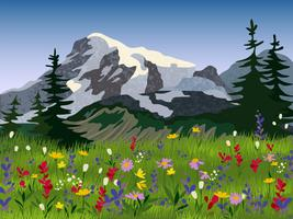 Cartaz alpino do medow do verão da paisagem