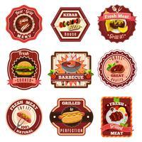 Conjunto de emblemas de churrasco vetor