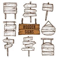 Conjunto de desenho de sinais de madeira vetor
