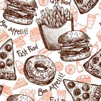 padrão sem emenda de fast-food vetor