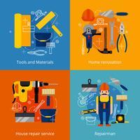 Conjunto de ícones de serviço e renovação de reparação vetor