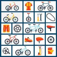 Conjunto de ícones plana de acessórios de bicicleta vetor