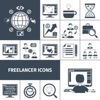 Freelancer ícones preto vetor