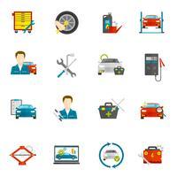 Conjunto de ícones plana de mecânico auto