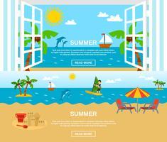 Conjunto de Banners de verão e praia