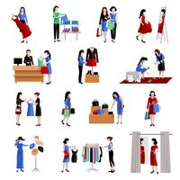 Mulher, shopping, ícones vetor