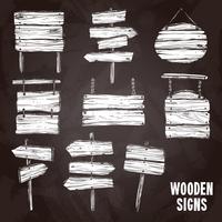 Conjunto de estilo de quadro de sinais de madeira vetor