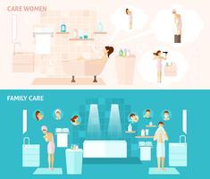 Banner de família e cuidados de mulher vetor