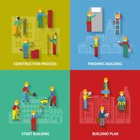 Conjunto de ícones decorativos de construção plana