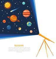 Cartaz de conceito de sistema solar de telescópio vetor