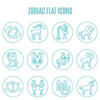 Conjunto de linha de ícones do Zodíaco vetor