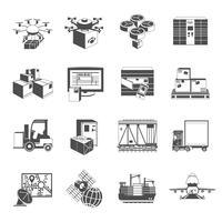 Novos ícones logísticos conjunto preto vetor