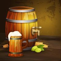 Bandeira de fundo de barril de caneca de carvalho de cerveja vetor