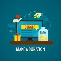 Doações on-line com o ícone do laptop