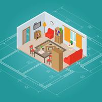 Interior isométrica da sala de estar