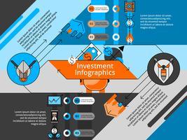 Conjunto de infográfico de linha de investimento vetor