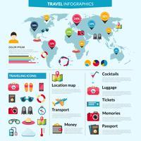 Conjunto de infográficos de viagem vetor