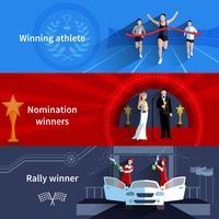 Conjunto de Banners de vencedores de esportes e nomeação