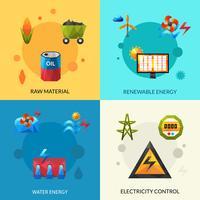 Conjunto de ícones de recursos de energia vetor