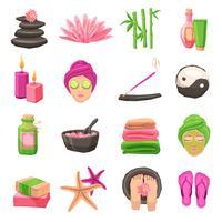 Conjunto de ícones de spa vetor