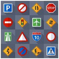 Conjunto de ícones plana de sinais de tráfego rodoviário