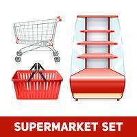 Conjunto realista de supermercado vetor